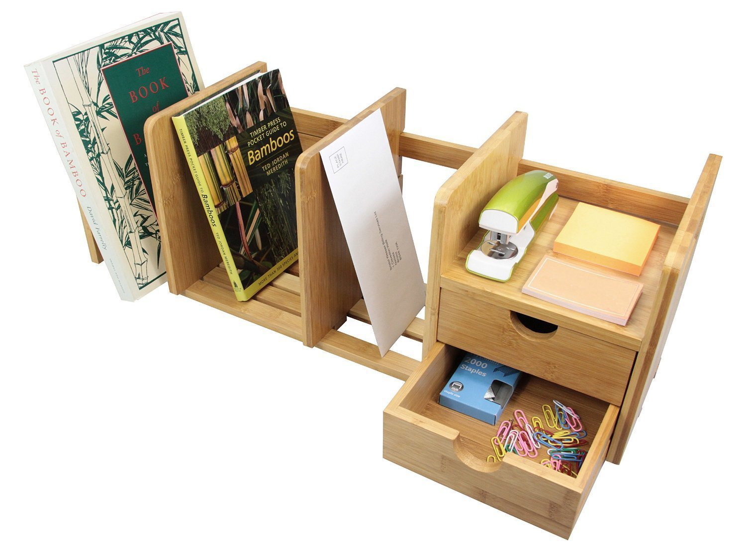 Natural Bamboo Desk Organizer with Extendable Storage and Two Drawers for Office and Home, Expandable Desk Tidy Bamboo Bookshelf by Balabella