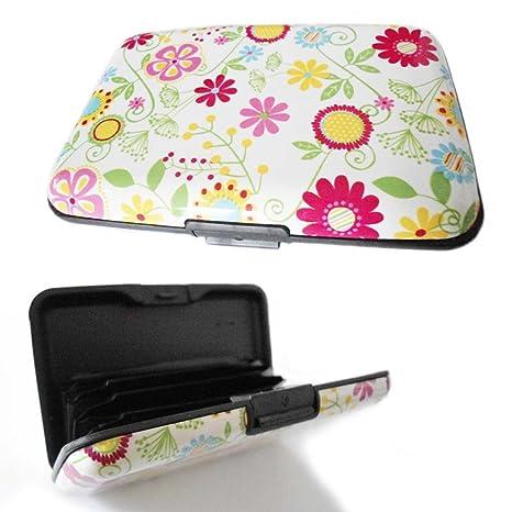 Multi Color diseño de flores tarjeta de Crédito ID Holder Aluminio organizador cartera monedero Metal proteger