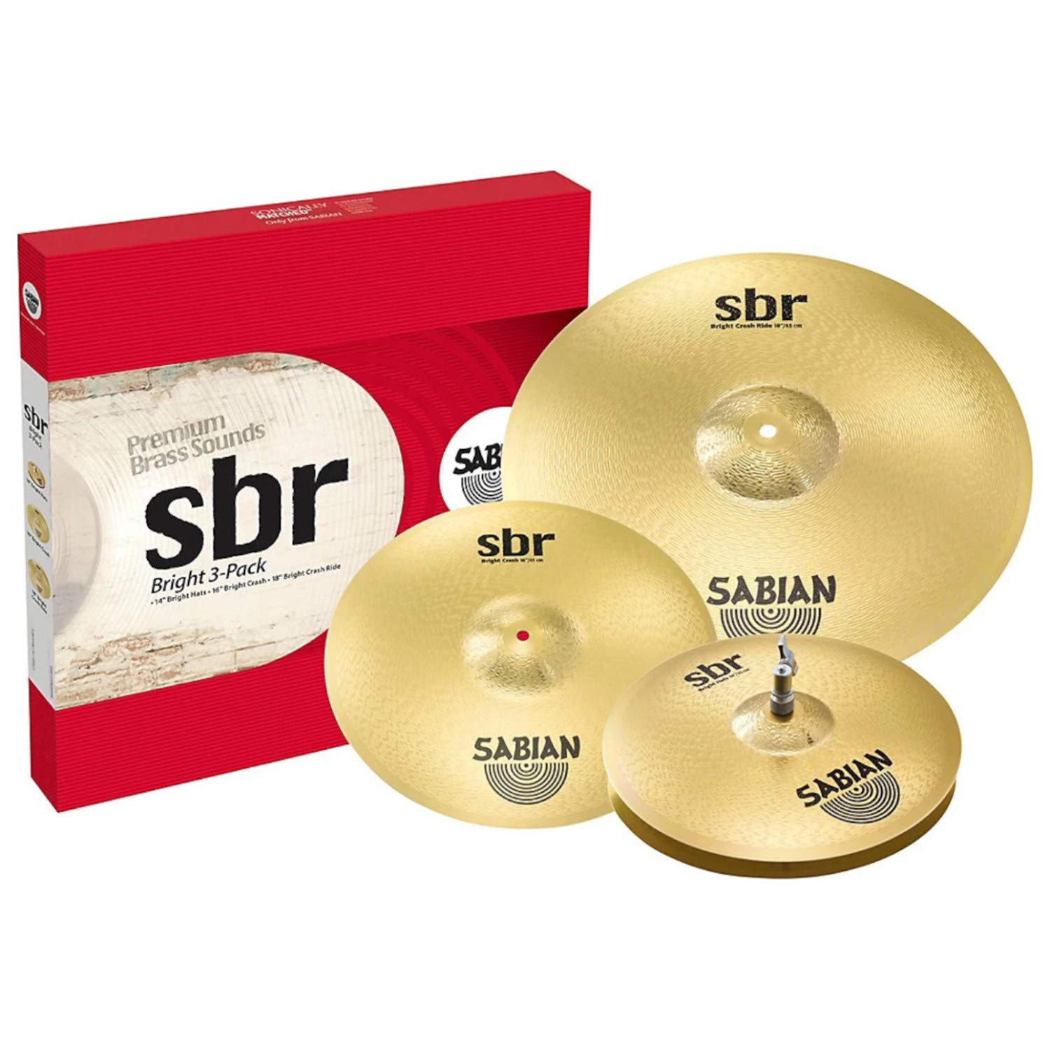 Sabian Cymbal Set SBR Bright 3-Pack 14'' Bright Hats, 16'' Bright Crash, 18'' Bright Crash/Ride SBR5004BR2 by Sabian