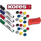 Kores Whiteboard-Marker Set, 4 Marker + Tafellöscher (20 Magnete + 4 Marker + Löscher, sortiert)