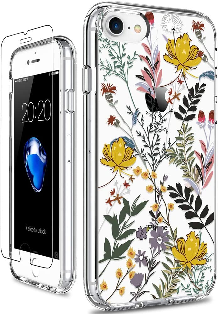 GiiKa iPhone SE 2020 Case, iPhone 8 Case, iPhone 7 Case with Screen Protector, Clear Protective Case Floral Girls Women Hard PC Case with TPU Bumper Cover Phone Case for iPhone 8, Wildflower