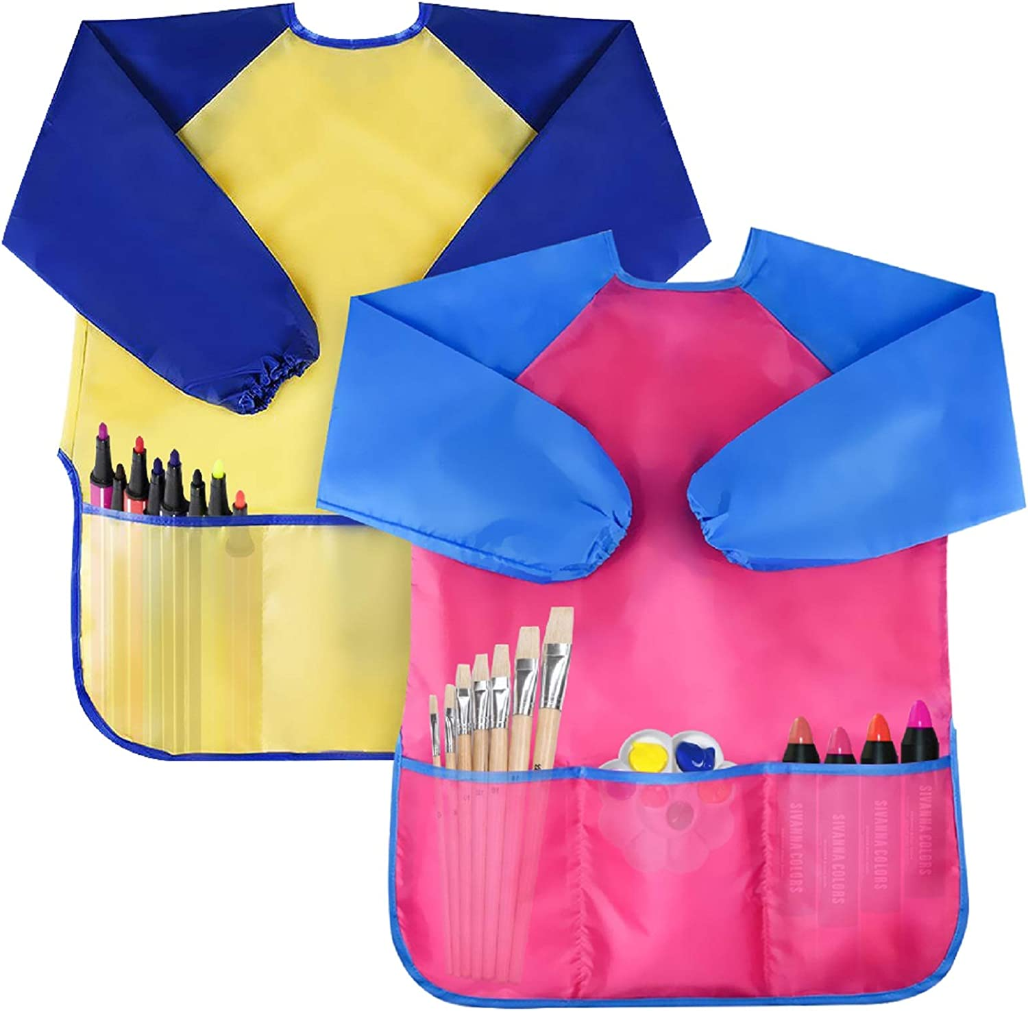 Pink S LOVIVER Kids Art Smocks Kids Playing Eating Drawing Aprons 18 Designs Available Children Waterproof Artist Painting Aprons Long Sleeve Children Smocks