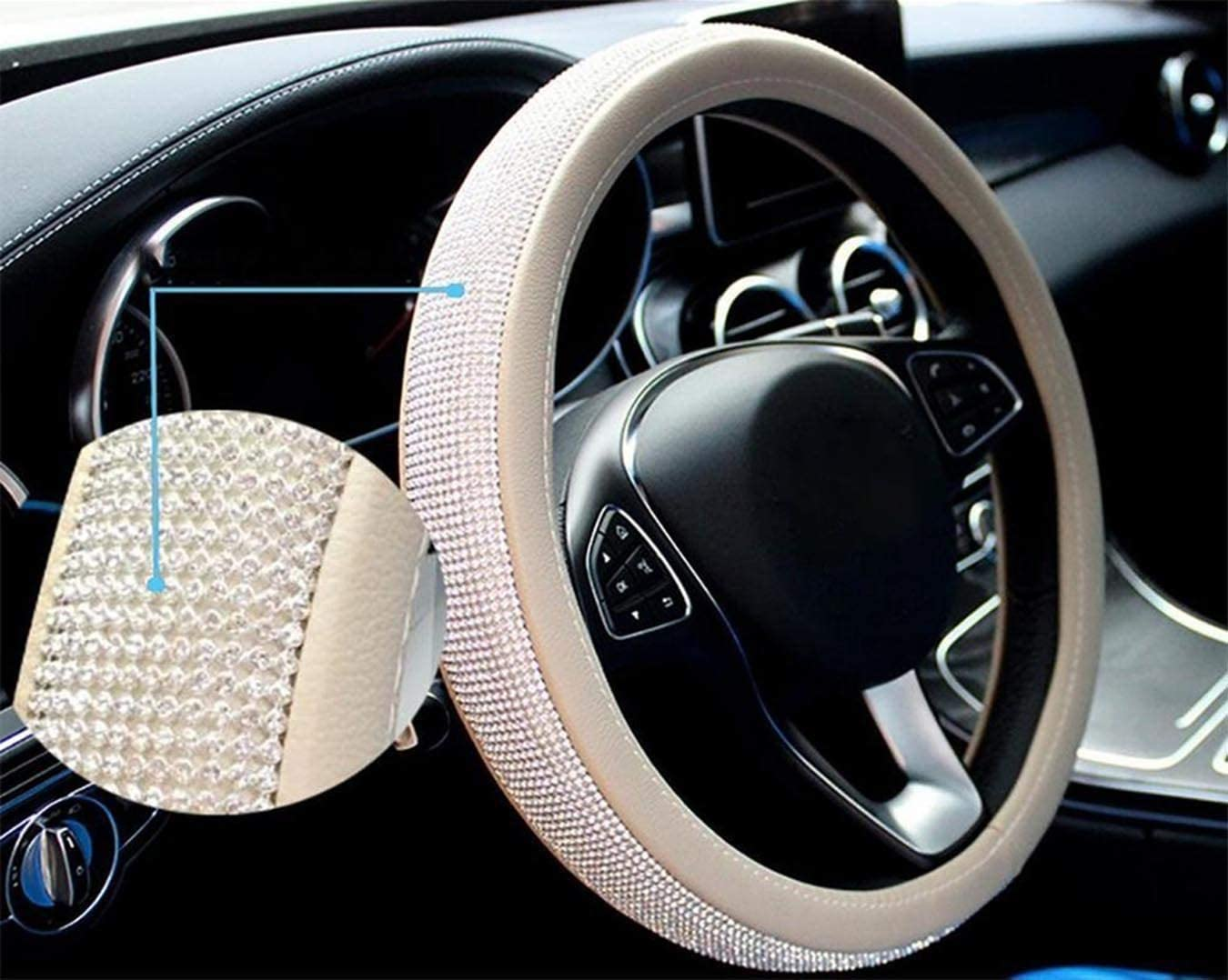 Black Crown ixiton New Diamond+Leather Steering Wheel Cover,Bling Crystal Rhinestones Steering Wheel Cover Universal Fit 15 Car Wheel Protector for Women Girls