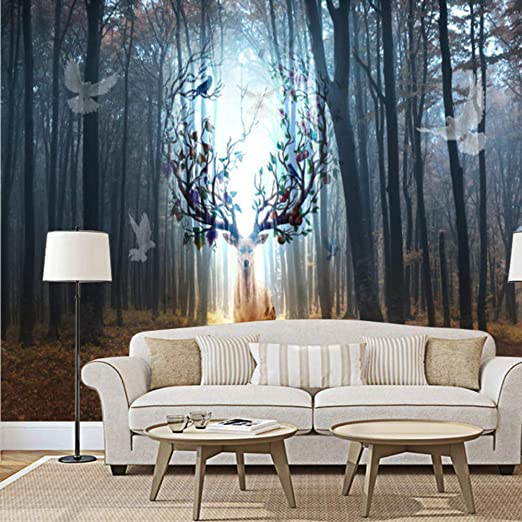 Mural 3d TV Hintergrund Wand Fantasy Wald Elch Taube ...