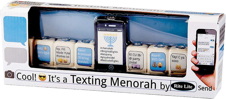 Rite Lite Texting Hand Painted Ceramic Candle Menorah 12.00x2.60x4.20 Multi