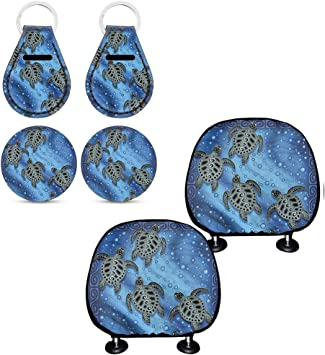 Seat Belt Cover Pads 9 Pack Set Auto Interior Accessories Universal Fit All Weather Protection chaqlin Sea Turtle Auto Seat Headrest Cover+Cup Holder Coaster+Keyring Steering Wheel Cover