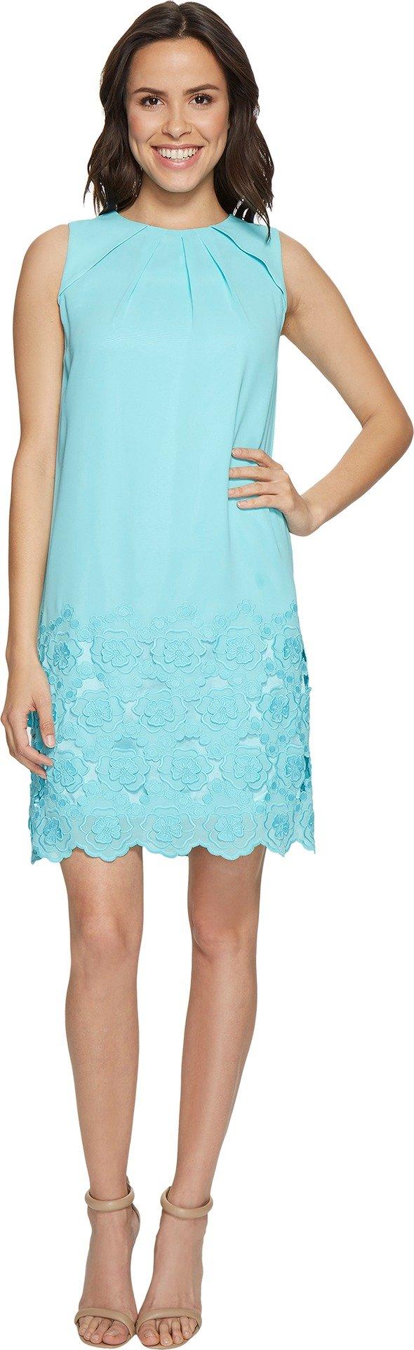 Tahari by ASL Women's Floral Embroidered Hem Shift Dress Beach Glass Blue Dress