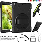 """All-New iPad 9.7 inch Case ,360 Degree Rotatable Handle Stand Hardstrap Layer Shockproof Dropproof Hybrid Heavy Duty Skin W/ Kickstand shoulder harness for iPad 9.7"""" 2017 A1822 A1823 (Black)"""