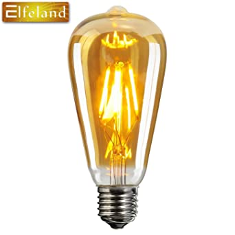 Vintage Edison LED Glühbirne, Elfeland E27 Antike LED Filament Lampe  Ersetzt 60W (6W,