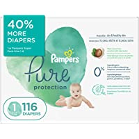 Pampers Diapers Size 1 - Pampers Pure Protection Disposable Baby Diapers, 116 Count, Super Economy Pack