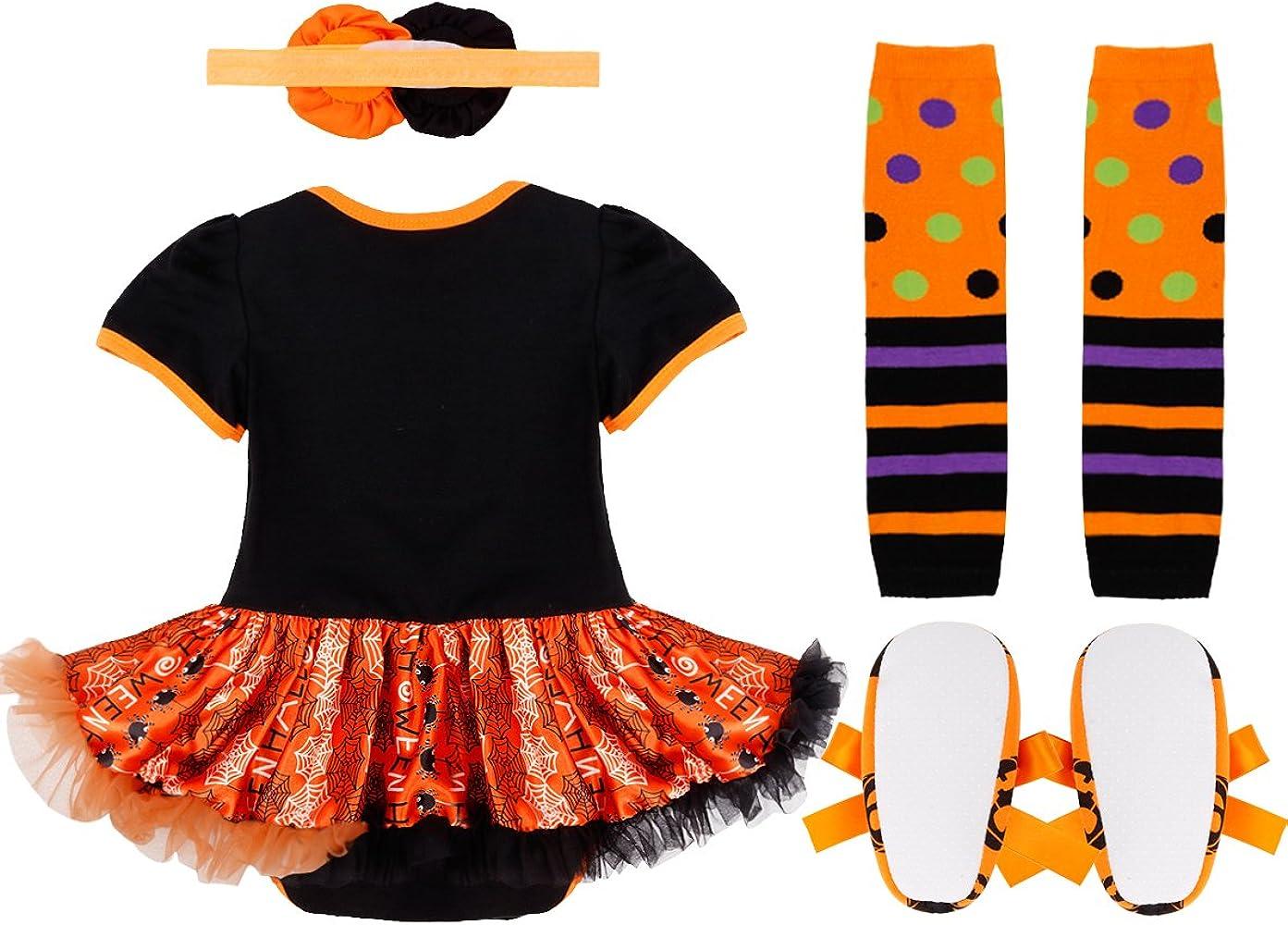 CHICTRY Vestido Calabaza para Halloween Cosplay Conjunto Pelele ...