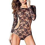 Lisli Women Long Sleeve Fishnet Lingerie Lace Bodysuit Nightwear Backless Dress