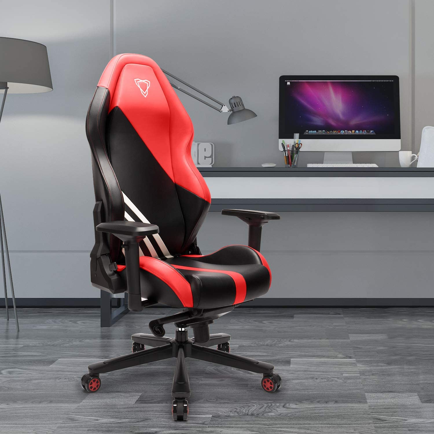 Amazon Com Furgle Office Gaming Chair Racing Style High Back Office Chair W 4d Adjustable Armrests Pu Leather Executive Ergonomic Swivel Video Game Chairs With Rocking Mode Kitchen Dining