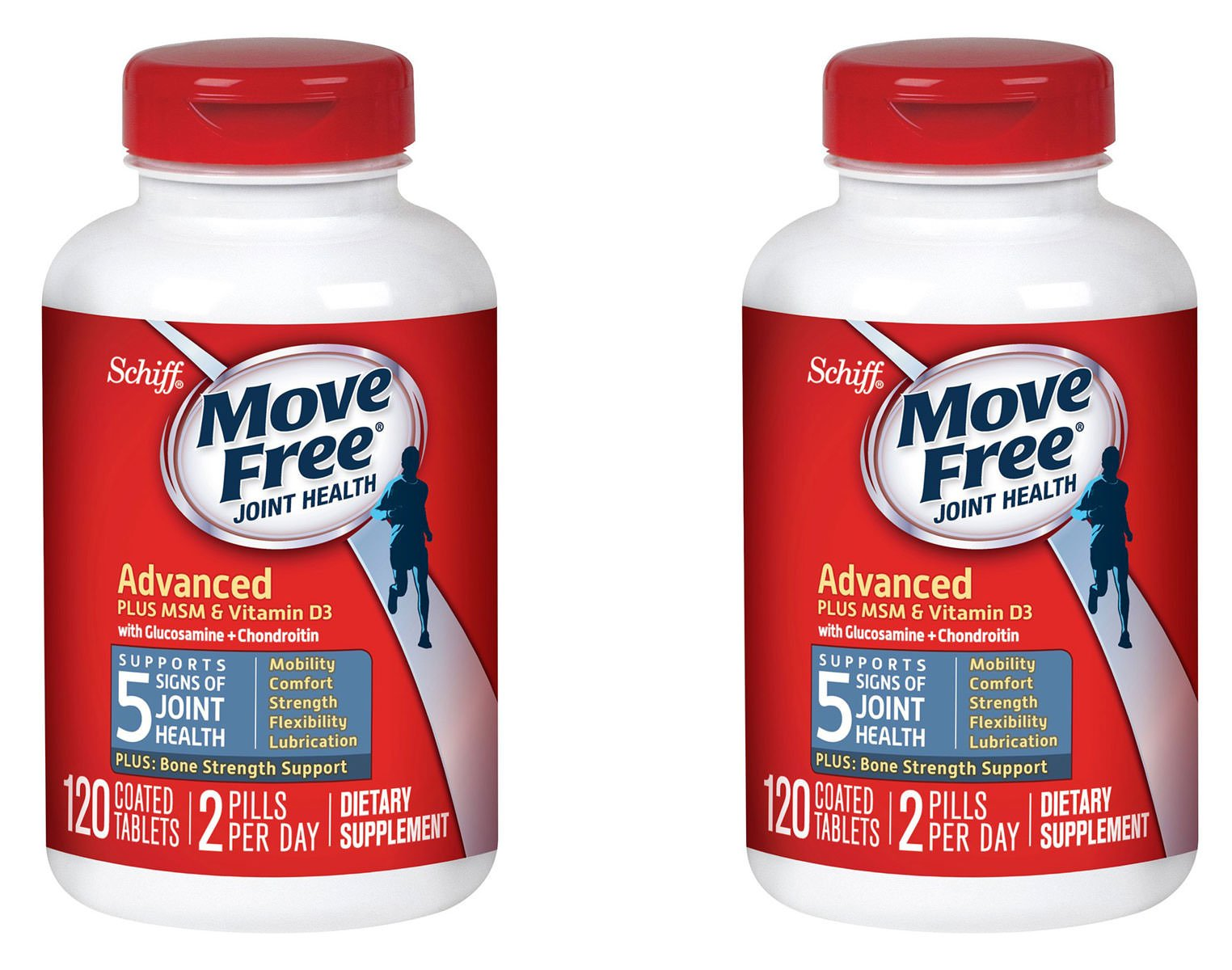 Move Free Advanced Plus MSM and Vitamin D3, 80 tablets - Joint Health Supplement with Glucosamine and Chondroitin, 120 Count, 2 Pack by Move Free