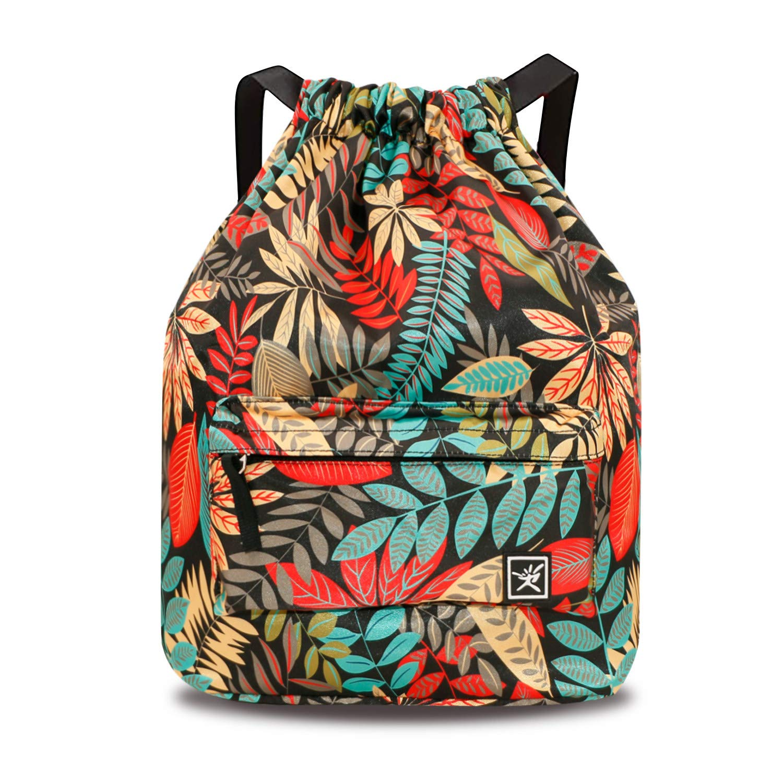 seeknfind Gradient and Leaf Drawstring Bag String Backpack Waterproof Gym Sackpack for Travel Camping Hiking Beach Gym Yoga