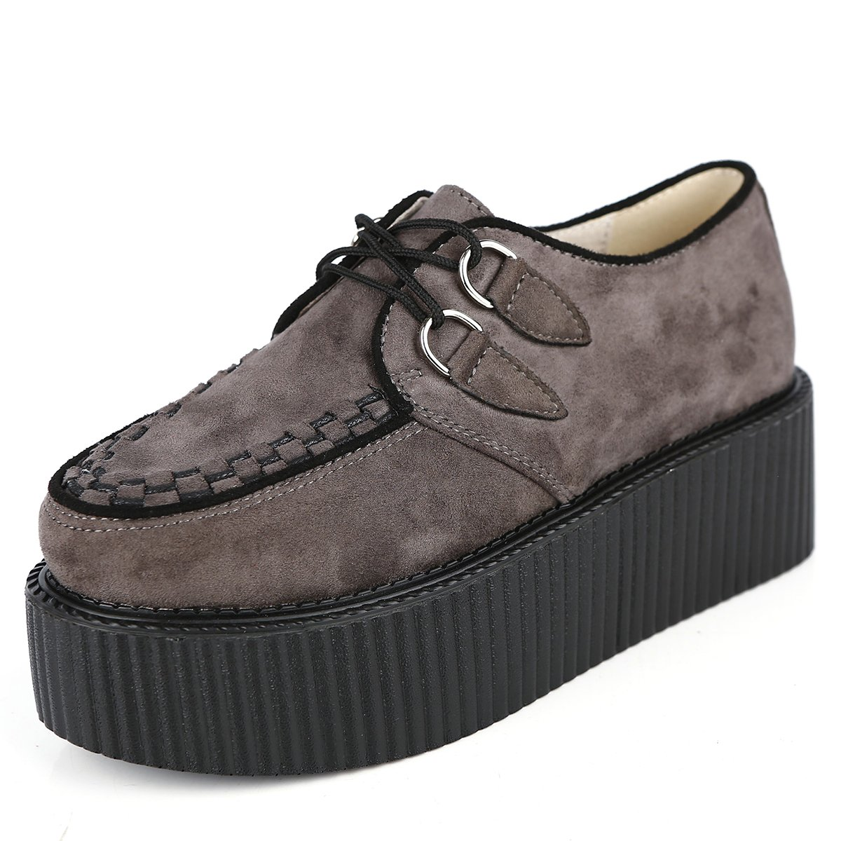 RoseG Femmes Lacets Gris Plate Forme Gothique Punk Creepers 19999 Chaussures Casual Chaussures Gris 7ca2706 - epictionpvp.space
