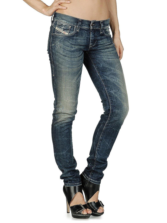 Amazon.com: Women's Diesel GETLEGG 0808V Skinny Straight Leg Distressed  Dark Denim Jeans (24W x 30L, Denim): Clothing