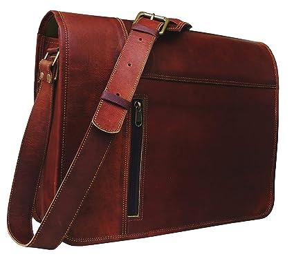 bea3ffff55802 Leather Laptop Messenger Bag Vintage Briefcase Satchel for Men and Women-  16 Inch by Vintage Couture (redddies Brown)