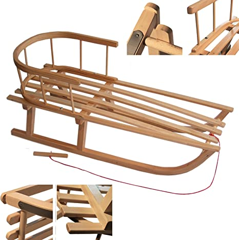 Wooden Sledge/ Rawstyle Wooden Sledge with Backrest /90/cm Childrens Sledge with Metal Runners Pull cord