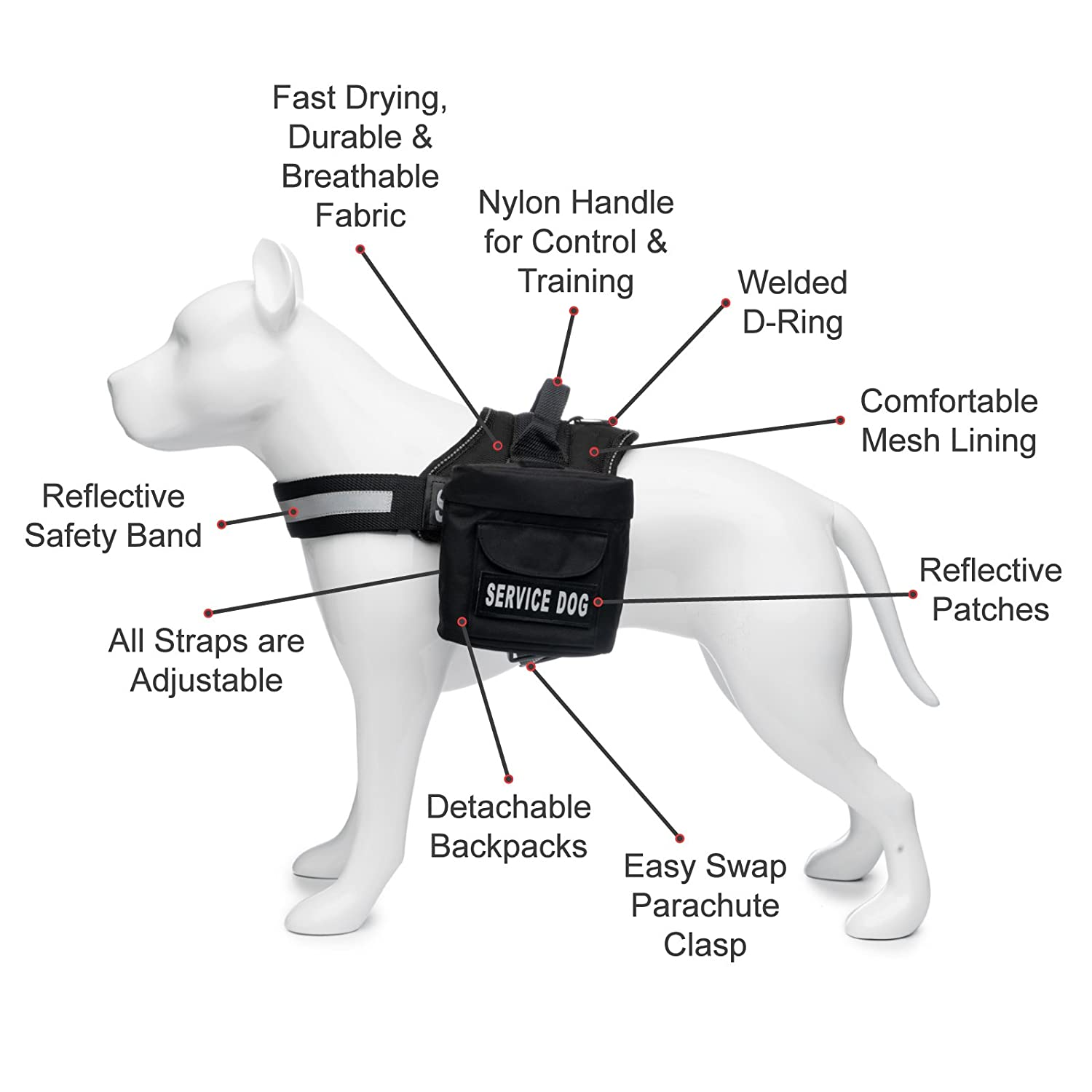 Amazon service dog harness with detachable backpacks amazon service dog harness with detachable backpacks patches and handle available in 7 sizes from small to extra large vest features reflective pooptronica Images