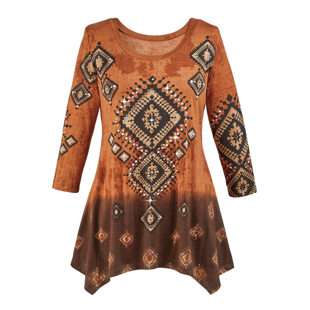 Collections Etc Women's Diamond Aztec Sharkbite Tunic Top Southwestern Style, Three Quarter Sleeves, Brown Ombre, Brown, X-Large by Collections Etc