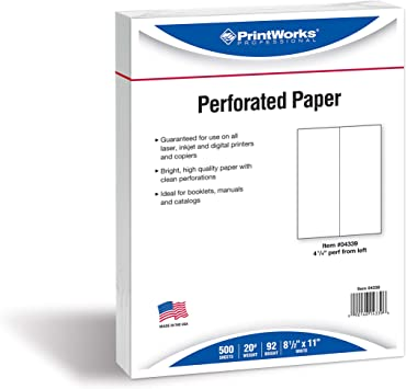 PrintWorks Professional Perforated Paper for Menus Booklets Forms and More