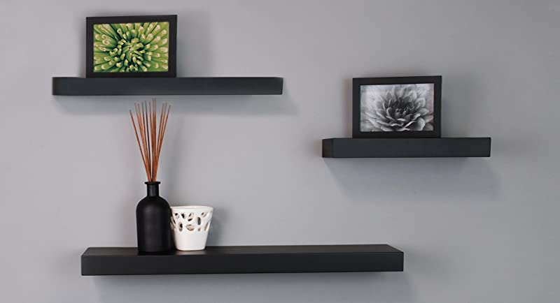 Black Floating Wall Shelves by Kiera Grace