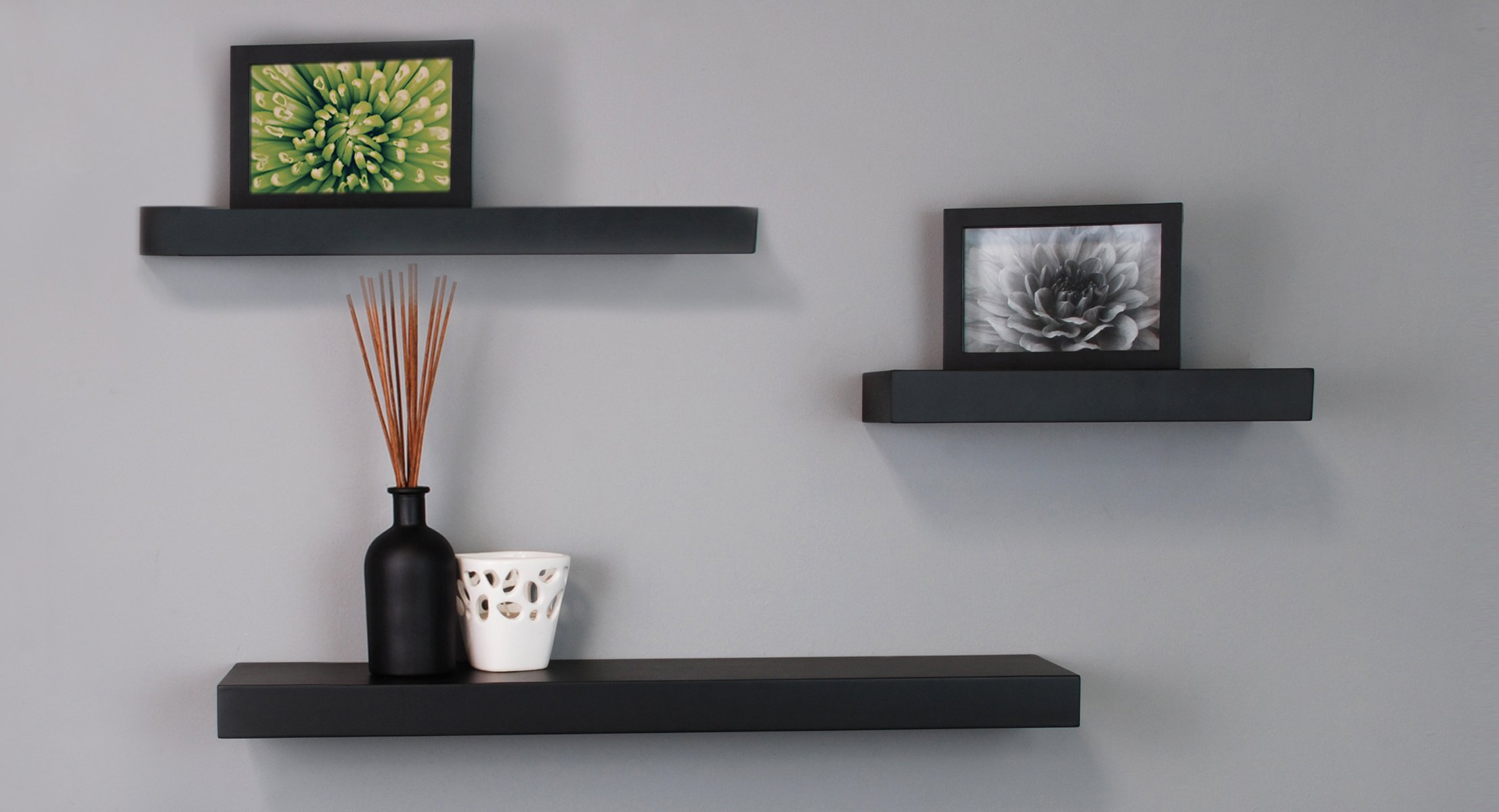 Black floating wall shelves by kiera grace mnml living