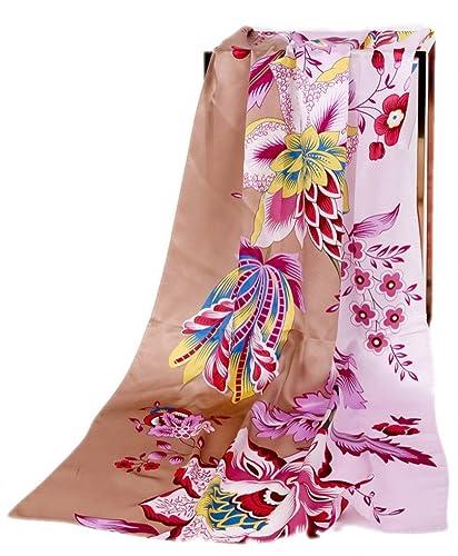 Prettystern - 180 cm de largo pañuelo de seda patrón de flores de seda pura colores brillantes - sel...