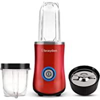 Brayden Fito Qwik, 400 W Power Blender with BPA Free 500ml Tritan Bottle and Transparent Grinding Jar (Blush Red)
