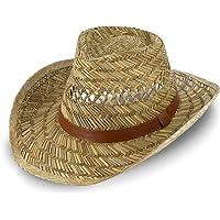 fiebig Sombrero de Paja Australiano para Hombre y Mujer | Sombrero de Vaquero para el Sol | Sombrero Occidental con…