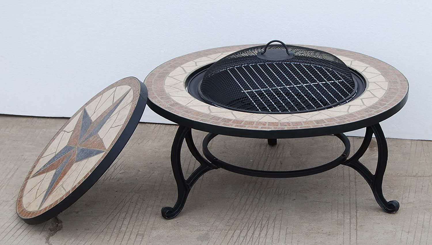 Amazon.com : SALTILLO Table U0026 Firepit   Large Fire Bowl, Garden Heater,  Outdoor Dining, BBQ Fire Pit : Garden U0026 Outdoor