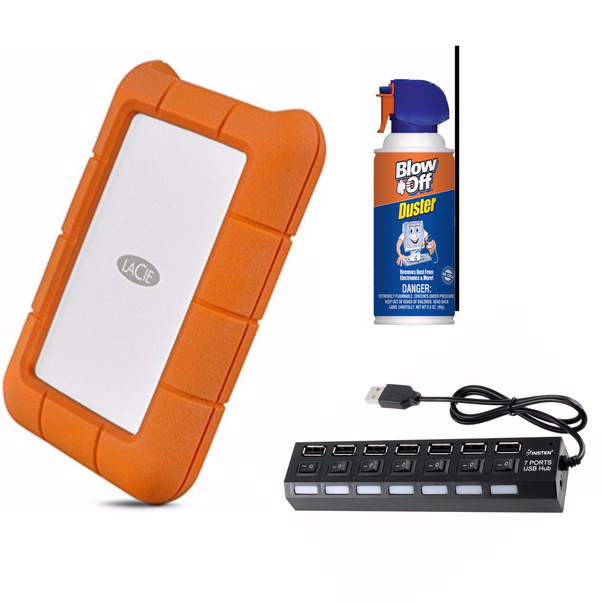 LaCie Rugged STFR4000800 4 TB 2.5'' External Hard Drive bundle