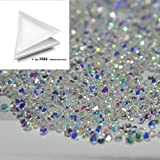 New 1440Pcs 1.2mm Mini Diamond Shining Diy Rhinestones Iridescent Crystals Need Glue Phone & Nail Art Decoration Ab Clear + 1 FREE Triangle Plate