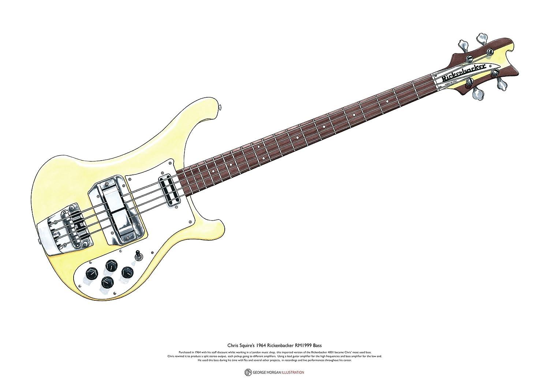 Chris Squires Rickenbacker RM1999 Bajo ART POSTER A2 tamaño: Amazon.es: Hogar