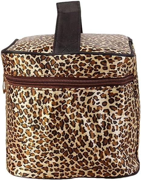 WINWINTOM - Neceser de mujer estampado de leopardo, para viaje o maquillaje: Amazon.es: Belleza