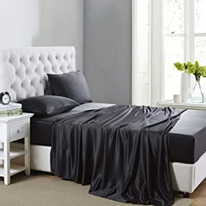Lanest Housing Silk Satin Sheets, 4-Piece Queen Size Satin Bed Sheet Set with Deep Pockets, Cooling and Soft Hypoallergenic Satin Sheets Queen - Black