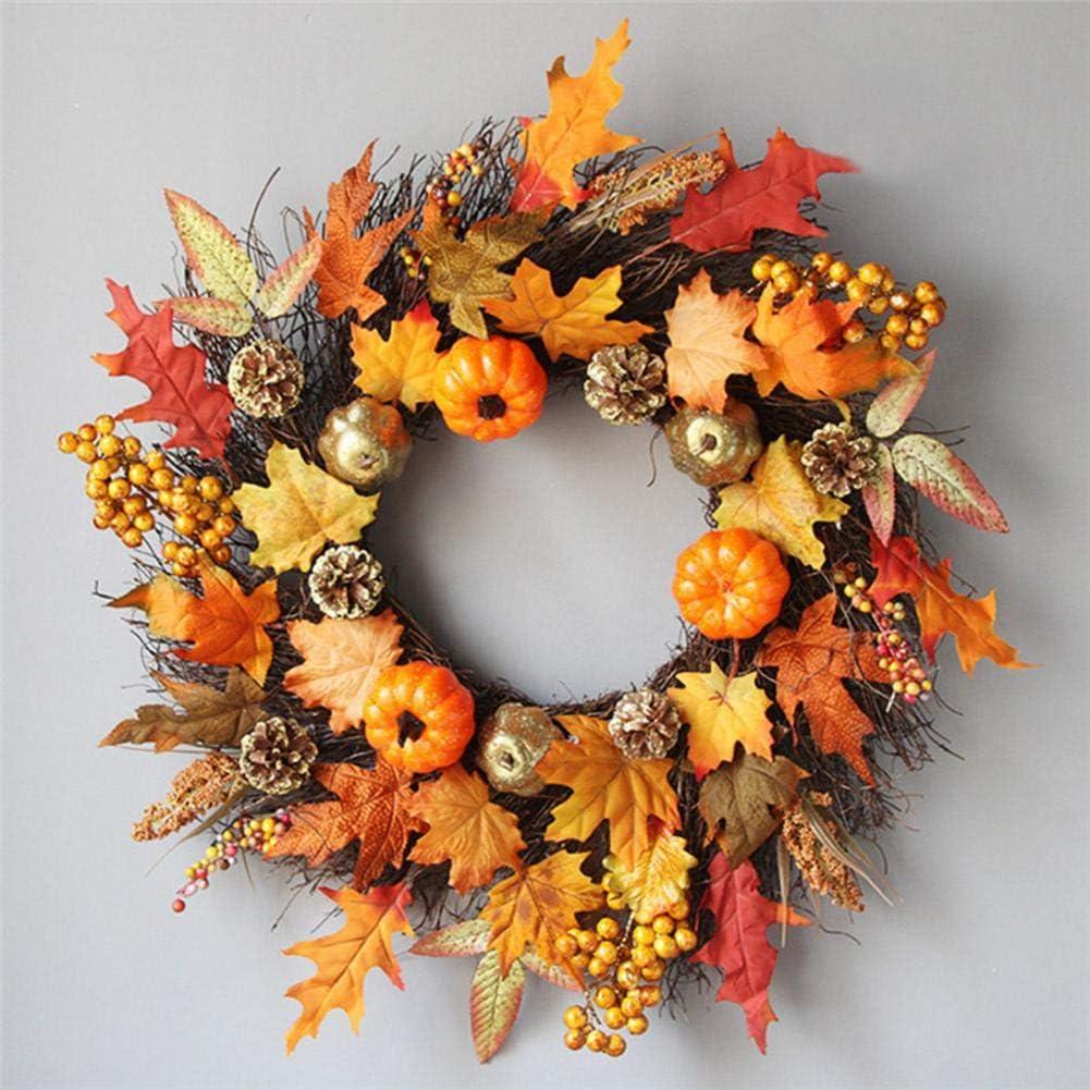 Ardentity Halloween Couronne Automne 60cm Berry Pumpkin et Feuilles dautomne Couronne en rotin Maple Leaf Bowknot Guirlande de No/ël Halloween Thanksgiving