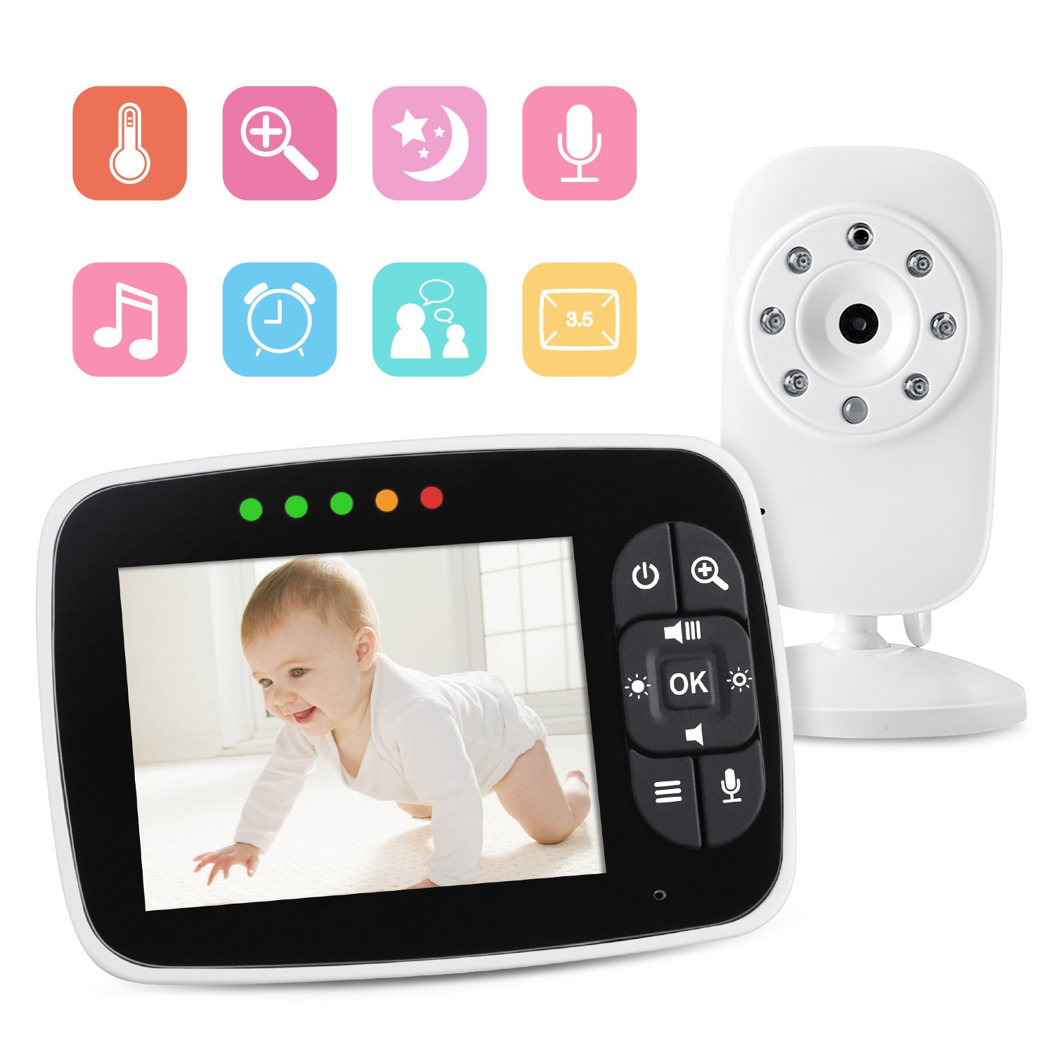 Video Baby Monitor with 3.5 inch LCD Screen Display Infant Night Vision Camera,Two Way Audio,Temperature Sensor,ECO Mode,Lullabies and Long Transmission Range Babebay