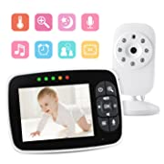 Video Baby Monitor 3.5  Large LCD Screen Display with Night Vision Camera, Two Way Talk Audio, Temperature Sensor, ECO Mode, Lullabies and Long Transmission Range
