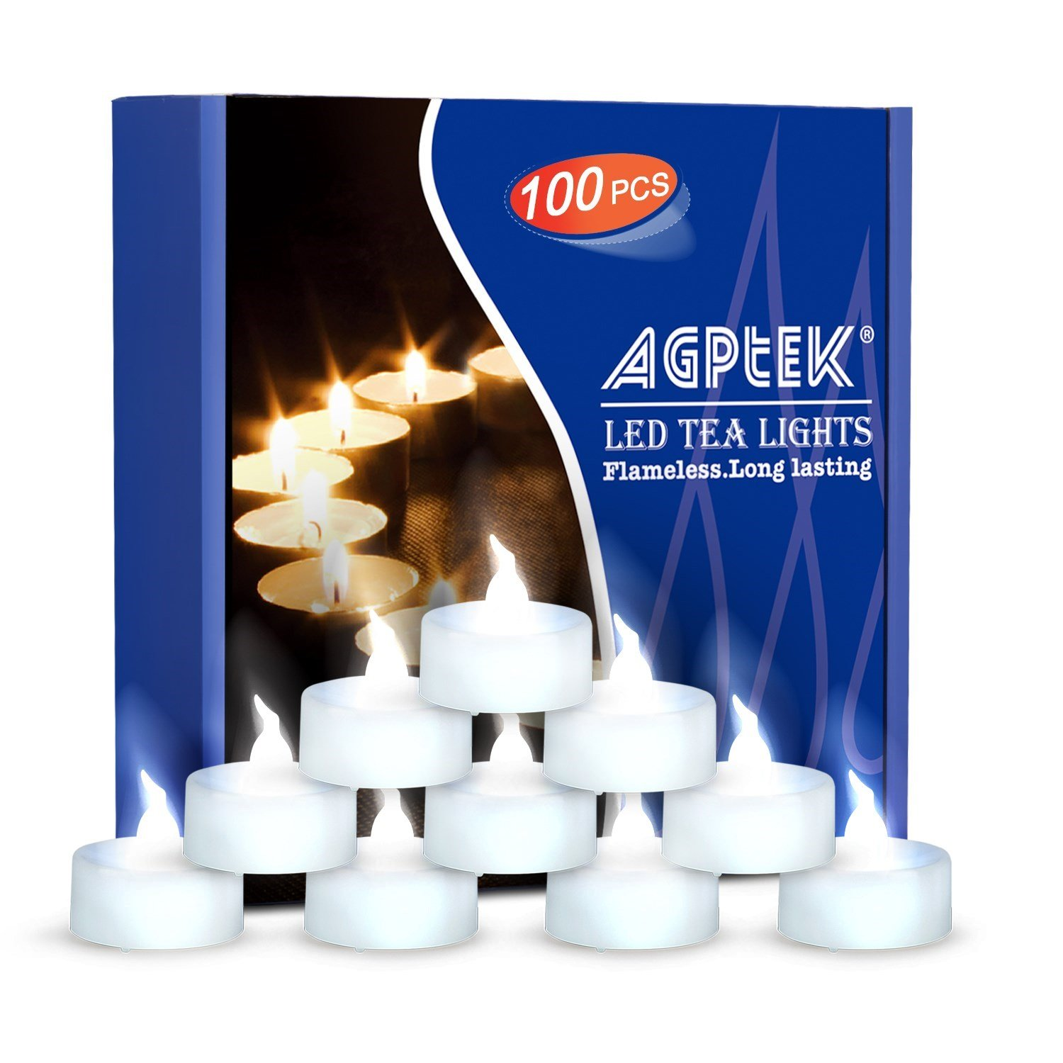 AGPtEK Tea Lights,100 Pack Flameless LED Candles Battery Operated Tealight Candles No Flicker Long Lasting Tealight for Wedding Holiday Party Home Decoration(Cool White) by AGPTEK