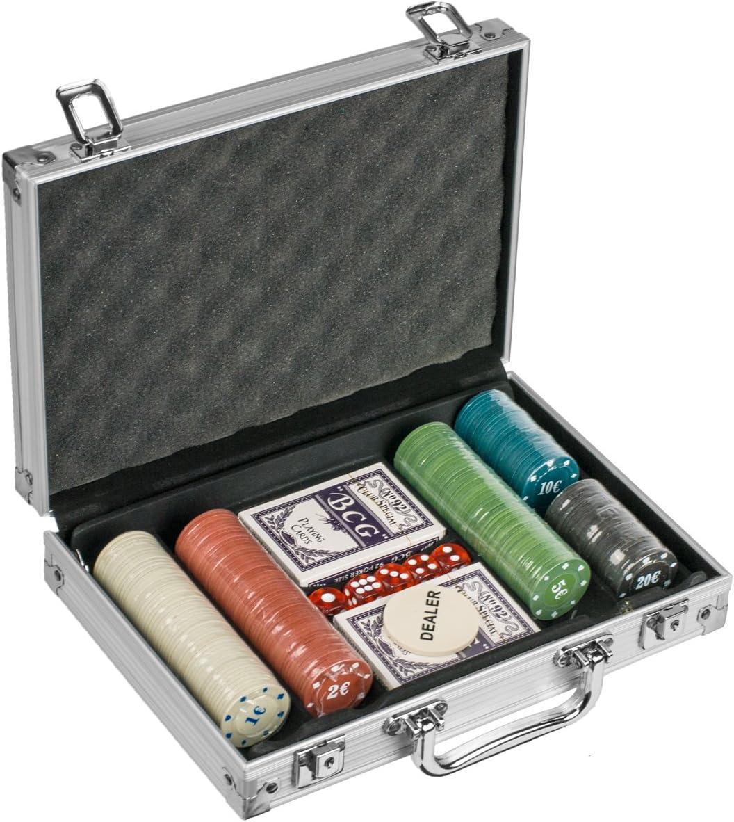 Poker estuche con 200 (4 G) de fichas de póquer, con fichas de póquer Euro Pokerset plata Talla:200 Chips: Amazon.es: Deportes y aire libre