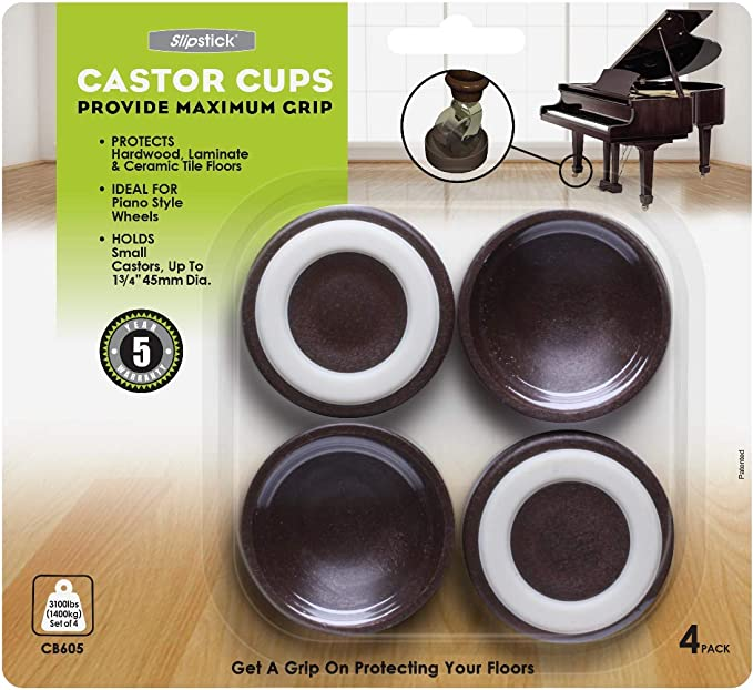 Grey Cup Non Slip Cups//Hard floors to fit Black Wheels 40mm dia