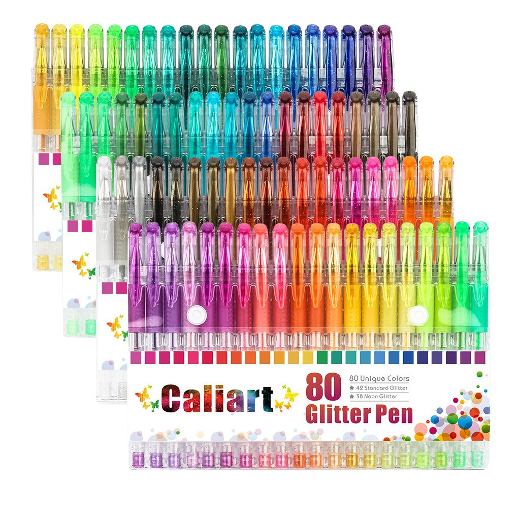 Caliart Glitter Gel Pens 80 Coloring Pens Set with Gift Box for Adult Coloring Books Scrapbooking Crafting Doodling Drawing, Best Gift for Families and Friends 4336982358