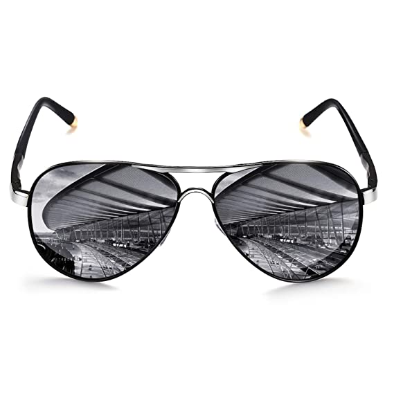 Sunglasses Curved Polarized Lenses Shades Outdoor UV400 Driving Metal Frame Men