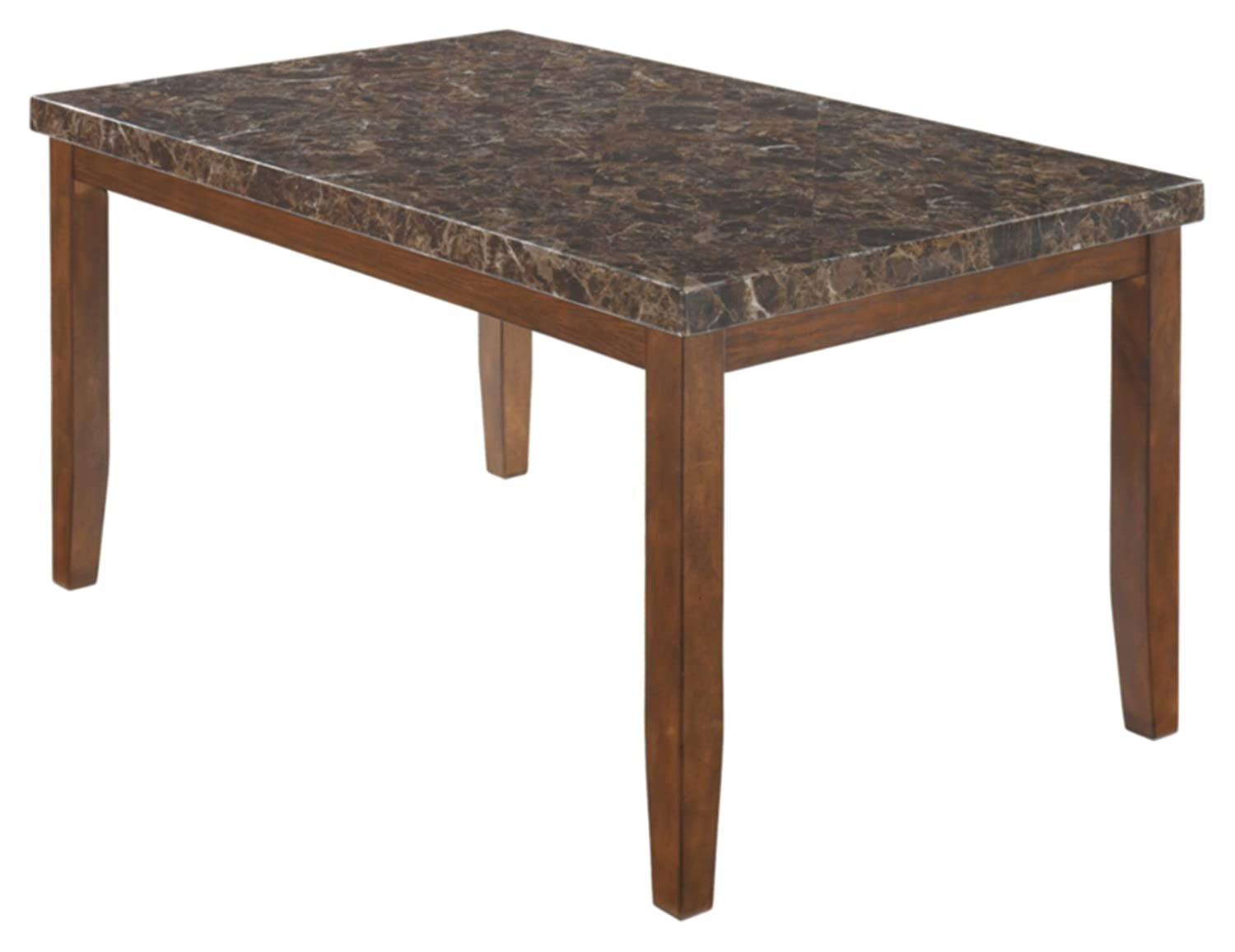 Amazon com ashley furniture signature design lacey dining room table rectangular contemporary with faux marble top medium brown tables