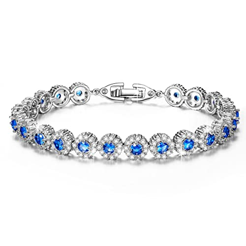 """[Christmas Deal] Qianse """"Pure Love"""" 7.3 Inches Brass Tennis Bracelet with AAA Cubi..."""