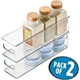 """mDesign Refrigerator, Freezer, Pantry Cabinet Organizer Bins for Kitchen - 4"""" x 4"""" x 14.5"""", Pack of 2, Clear"""