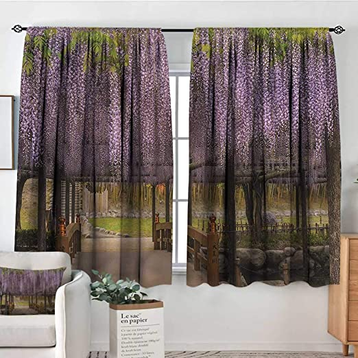 Sanring Japanese Curtain Rods Lilac Flowers In Terrace 72 X84 Backout Draperies For Bedroom Amazon Co Uk Kitchen Home