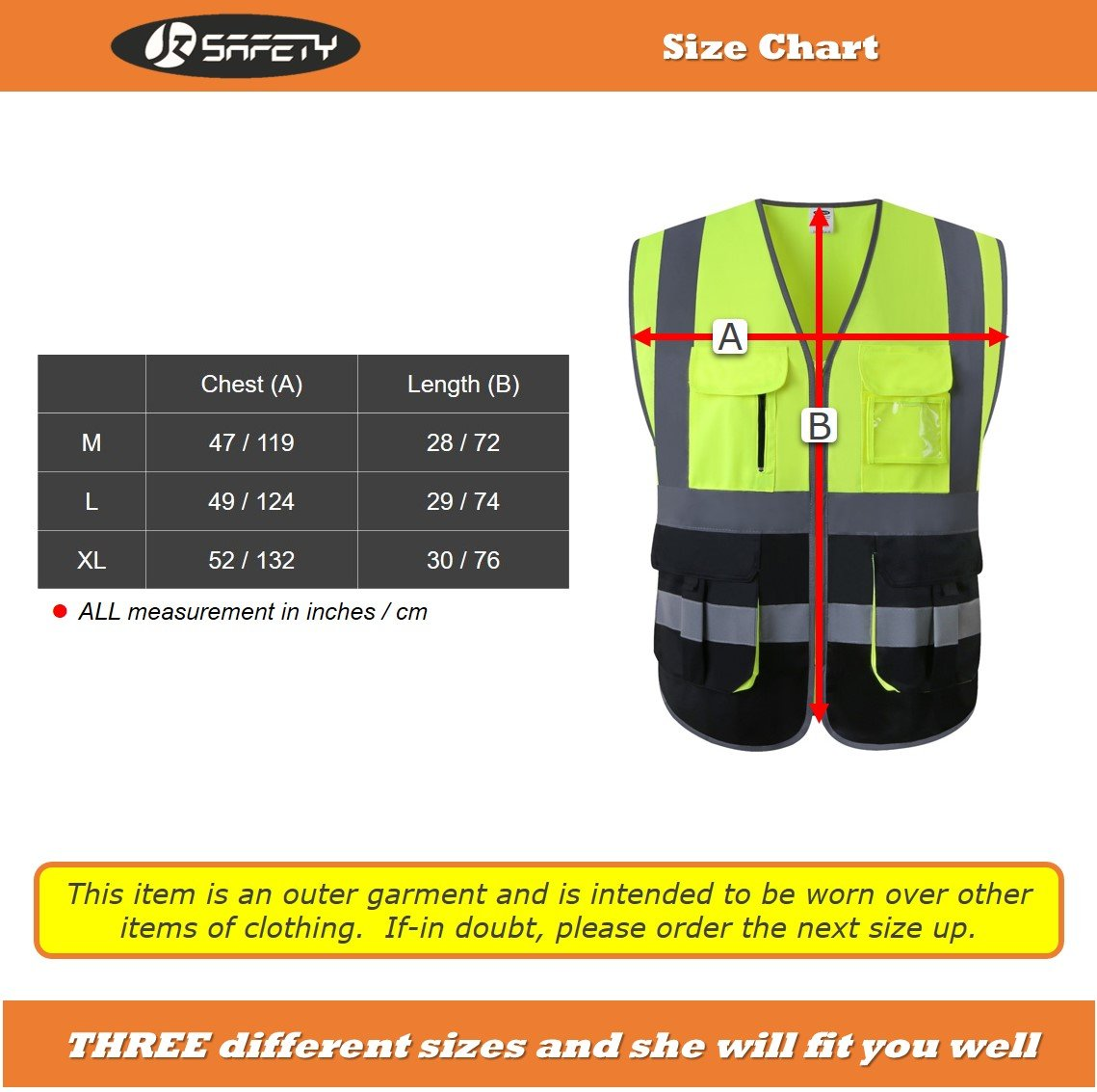 JKSafety Multi Pockets Class 2 High Visibility Zipper Front Safety Vest With Reflective Strips.Meets ANSI/ISEA Standards (Yellow-Black L) by JKSafety (Image #5)